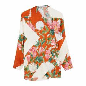 Palmer//harding Triangle Floral-print Asymmetric Satin Top