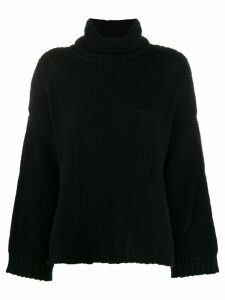 Fine Edge boxy roll neck jumper - Black