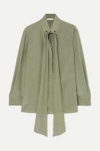 Chloé - Tie-neck Silk Crepe De Chine Blouse - Green