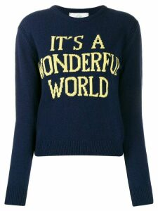 Alberta Ferretti slogan knit crew neck jumper - Blue