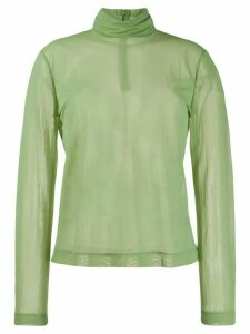 Cédric Charlier sheer polo neck - Green