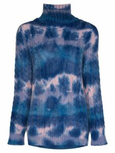 Moncler Grenoble mottled-effect cable knit turtleneck - Blue