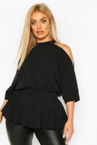 Womens Plus Batwing Sleeve Peplum Top - black - 16, Black