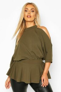 Womens Plus Batwing Sleeve Peplum Top - green - 26, Green
