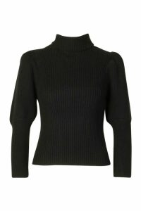 Womens Petite Puff Sleeve Roll Neck Jumper - Black - L, Black