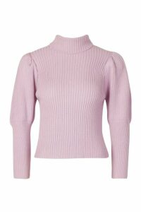Womens Petite Puff Sleeve Roll Neck Jumper - purple - M, Purple