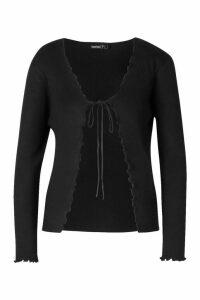 Womens Petite Lettuce Edge Tie Front Cardigan - black - M, Black
