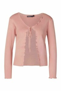 Womens Petite Lettuce Edge Tie Front Cardigan - pink - M, Pink