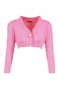 Womens Petite Chunky Knit Puff Sleeve Cropped Cardigan - Pink - M, Pink