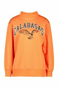 Womens Petite Calabasas Slogan Funnel Neck Sweat Top - orange - 10, Orange