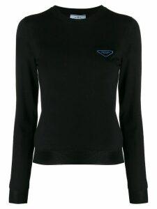 Prada logo print jumper - Black
