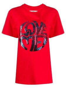 Alberta Ferretti Love Me embellished T-shirt - Red