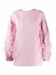 Valentino feathered sleeve top - PINK