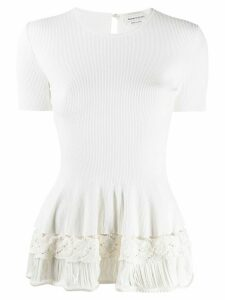 Alexander McQueen rib-knit ruffled top - White