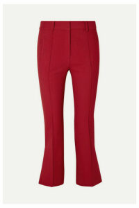 Khaite - Marianne Cropped Twill Flared Pants - Claret