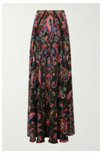 Etro - Printed Silk-crepe Maxi Skirt - Black