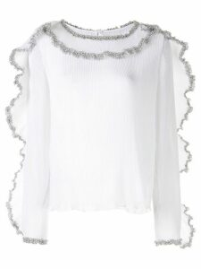 See By Chloé pleated georgette ruffle blouse - White
