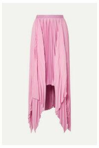 Khaite - Charlotte Pleated Asymmetric Satin Midi Skirt - Pink