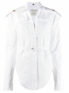 Bottega Veneta belted curved-hem shirt - White