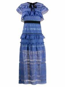 Self-Portrait tiered lace-detail dress - Blue