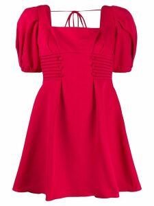 Self-Portrait puffed sleeve square neck dress - Red