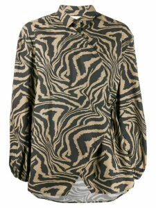 GANNI tiger print wrap shirt - NEUTRALS