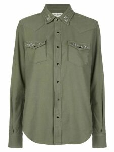 Saint Laurent round stud embellished shirt - Green