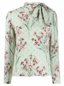 RedValentino floral print pussy bow blouse - Green