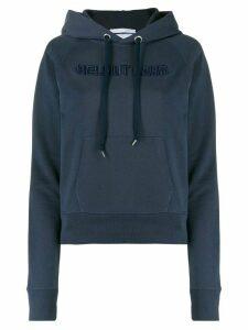 Helmut Lang logo-embroidered hooded sweatshirt - Blue
