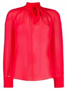 Kenzo pussy bow chiffon blouse - Red
