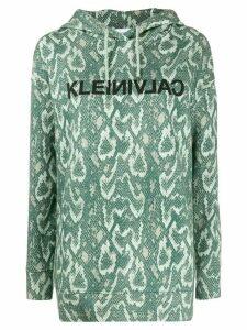 Calvin Klein snakeskin print cotton hoodie - Green