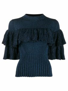 Self-Portrait fitted peplum lurex knit top - Blue