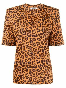 The Attico structured leopard print T-shirt - Brown