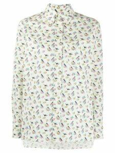 Prada floral print oversized shirt - NEUTRALS