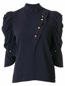 Toga contrast button ruffle sleeve blouse - Blue
