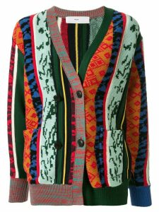 Toga patterned colour block cardigan - Green