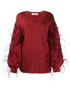 Valentino ostrich feather embellished V-neck jumper - Red