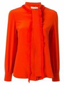 Tory Burch Samba fringed bow blouse - ORANGE