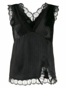 Pinko asymmetric lace trim top - Black
