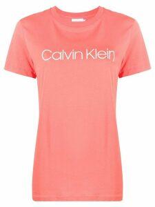 Calvin Klein logo print cotton T-shirt - PINK