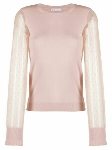 Red Valentino Point d' Esprit tulle jumper - PINK