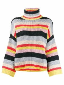 Fine Edge striped turtleneck jumper - Blue