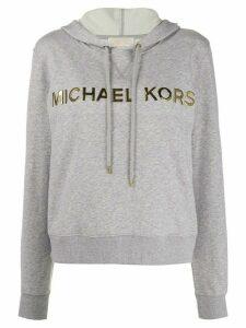 Michael Michael Kors metallic logo embellished hoodie - Grey