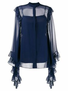 Alberta Ferretti ruffled trim blouse - Blue
