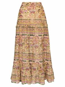 Chufy Nina printed cotton and silk maxi skirt - NEUTRALS