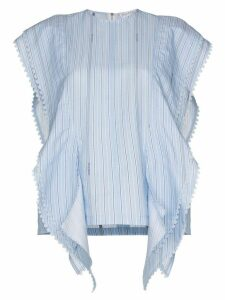 JW Anderson Side ruffles striped top - Blue