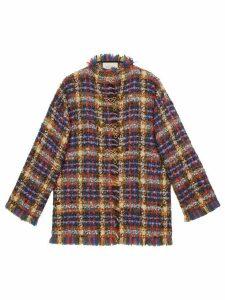 Gucci check print tweed jacket - Blue