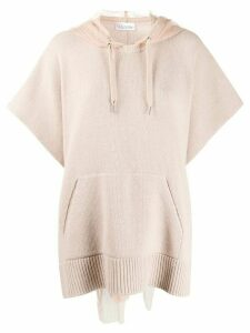 RedValentino point d'esprit hood jumper - NEUTRALS