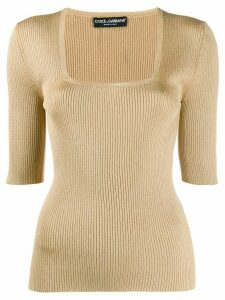 Dolce & Gabbana square neck knitted top - NEUTRALS