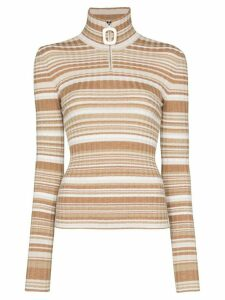 JW Anderson half-zip striped wool jumper - NEUTRALS